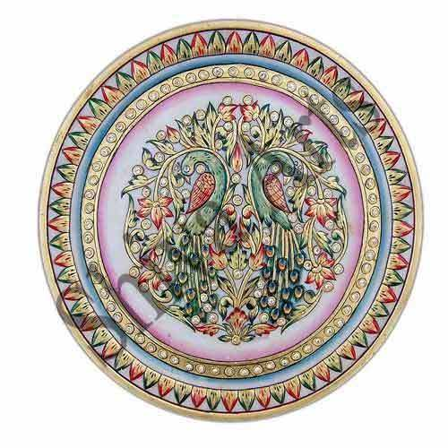 Decorative Plate Marble Peacock Printed Plate