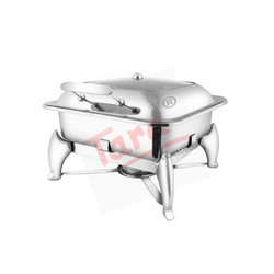 Square Glass Lid Chafing Dish With Fuel Burner