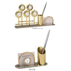 Business Card Stand With Clock & Pen Stand