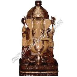 Wooden Antique Carving Ganesh Ji