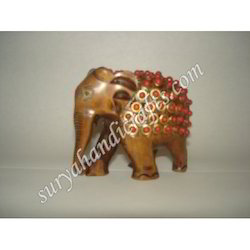 Wooden Elephant With Brass