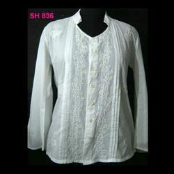 Ladies Cotton Embroidered Shirt