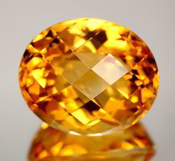 Citrine Oval Checker Cut Gemstone