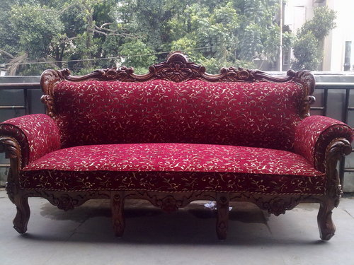 Exceptional Carved Wooden Sofa