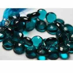 7 inches Long 8-10 mm size PARAIBA BLUE Quartz Faceted Heart Shaped Briolettes