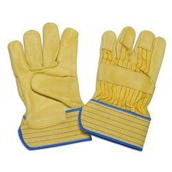 Yellow Grain Leather Palm Gloves