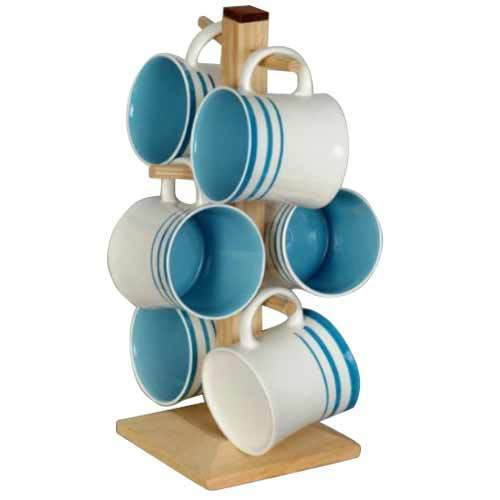 Colored Coffee Mug With Wooden Stand