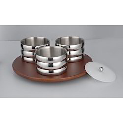 UFO Revolving Wooden Tray With 3 Pcs Spiral Bowls