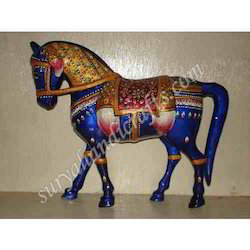 Metal Meenakari Painted Horse