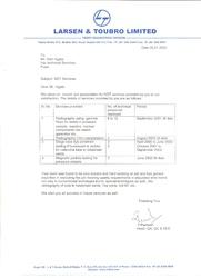 Certificate by L & T 2