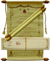 Custom Handmade Boxed Scroll Invitations For Weddings With Print, Size: 5, Size/Dimension: 2