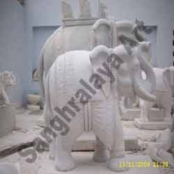 Twin Carved Elephants Statue