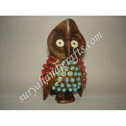 Wooden Owl With Brass