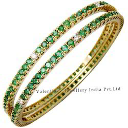 Emerald And Diamond Bangles