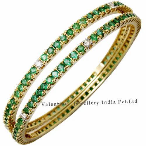 d3e33cd9c5b26 Emerald And Diamond Bangles