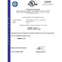 UL Certificate for limit Switch DXLW