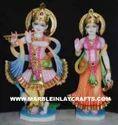 White Painted Marble Radha Krishna Moorti, For Worship
