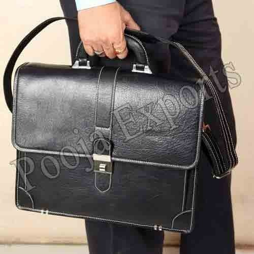 Pooja Exports Black Leather Briefcase