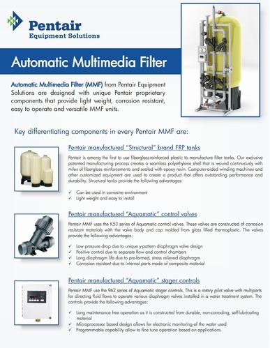 Multi Media Filtration, | Pentair Water India Private Limited in