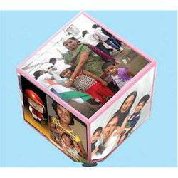 Rotating Table Top Cube Photo Frame