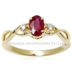 Women's Twisted Ruby Gold Ring