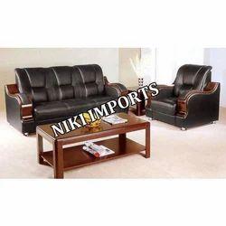 ZMS Wood Panel Sofa Set - Rexine