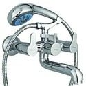 Brass Channel Faucets Hand Shower Telephonic Wall Mixer
