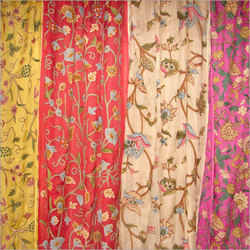 Hand Embroidered Silk Checks Curtains