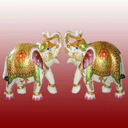 Marble Elephants Pair
