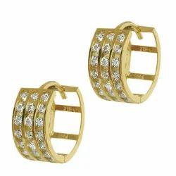 Solid 10K Yellow Gold 3-Row Channel Set Huggie Earrings