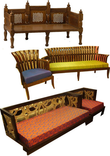 Wooden Indian Style Sofa लकड क, Indian Style Furniture