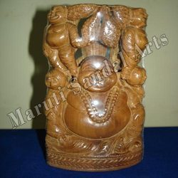 Wood Laughing Buddha With Babies
