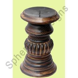 Wooden Pillar Candle Holder