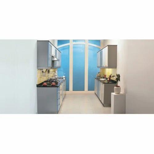 Metal Parallel Blue White Big Kitchen Kohinoor Interiors Aligarh