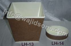 Square Metal Pot With Leather