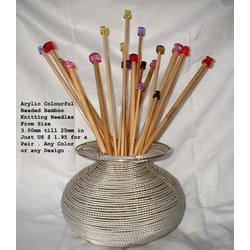 Acrylic Bead Top Knitting Needles