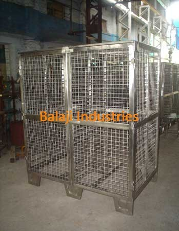 Clean Room Furniture Stainless Steel Cage Trolley