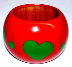 Red & Green Wooden Napkin Ring