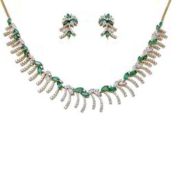 18K White Gold Emerald Necklace Set