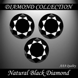 3 Carat Lot of 3 Certified Black Diamond Solitaires