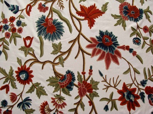 Cotton Crewel Embroidered Upholstery Fabric Kashmir Collections