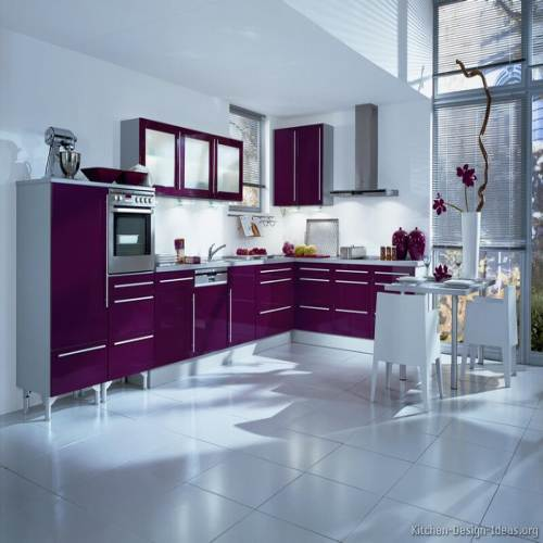 Modern Purple Kitchen-White Tile Flooring In Madipakkam