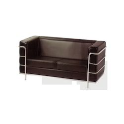 Black Velvet Two Seater Office Sofa