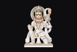 HU-0032 White Marble Hanuman Idol