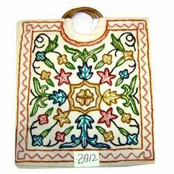 Plain Wooden Handle Embroidered Bag