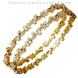 Designer Diamond Studded Gold Bangles