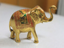 Brass Elephant With Emboss Painting
