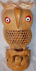 Wooden Undercut Owls Statue