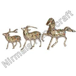 Brass Lekar Stone Stag and Horses