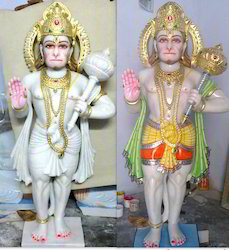 Hanuman White Marble  Moorti